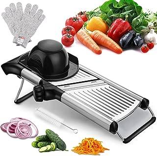 Adjustable Mandoline Slicer with Free Cut-Resistant Gloves and Brushes Stainless Steel Slicer Vegetable Potato Onion Food Slicer for Kitchen by Vinipiak