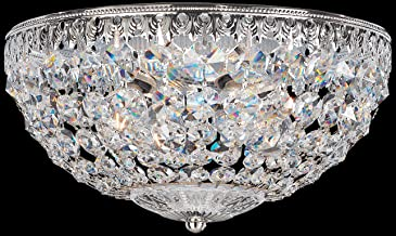 Schonbek 1560-40A Swarovski Lighting Petit Crystal Flush Mount Lighting Fixture, Silver