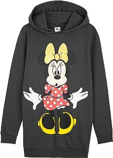 Vestido estilo sudadera con diseño de Disney, con capucha de Minnie Mouse, para mujer, de algodón, largo