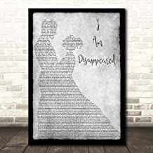 I Am Disappeared Grey Song Lyric Man Lady Dancing Quote Wall Art Poster Gift Present Print