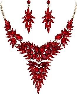 BriLove Women's Wedding Bridal Crystal Multi Oval-Shape Flower Leaf Enamel Statement Necklace Dangle Earrings Set