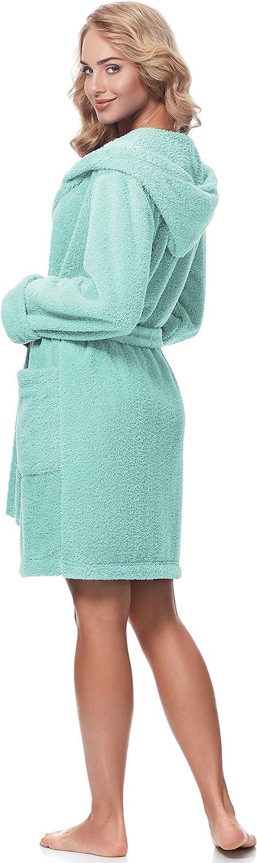 Merry Style Damen Bademantel mit Kapuze 1GN2S Aquamarin