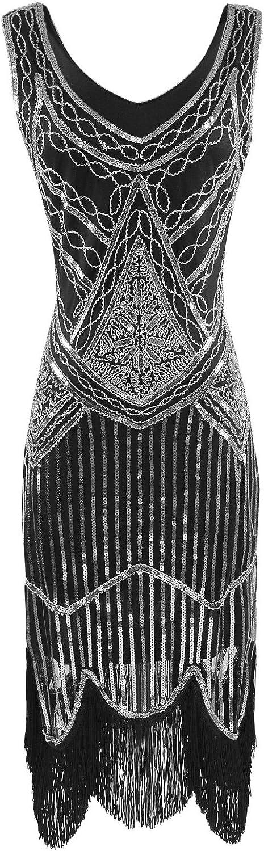 Heroecol Vintage 1920s Dress Retro Sequined Beaded Tassels Flapper Gatsy Style