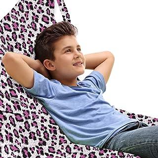 ABAKUHAUS Imprimé léopard Jouet Sac de Rangement Chaise Lounge, Rose Girly Noir, Stockage pour Animal en Peluche à Haute C...