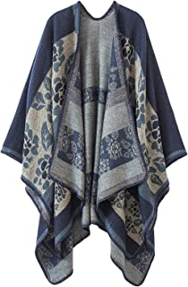 Women's Plaid Sweater Poncho Cape Coat Open Front Blanket Shawls and Wraps