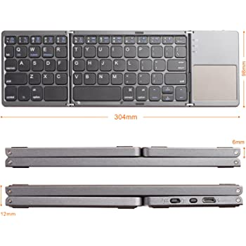 LinDon-Tech Teclado Bluetooth inalámbrico Recargable Tri-Pliable ...