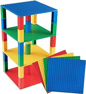 Strictly Briks Pack de 4 Bases con 30 Ladrillos separadores 2 x 2 - Construcción en Forma de Torre - Compatible con Todas Las Marcas - 15,24 x 15,24 cm - Amarillo, Rojo, Verde, Azul