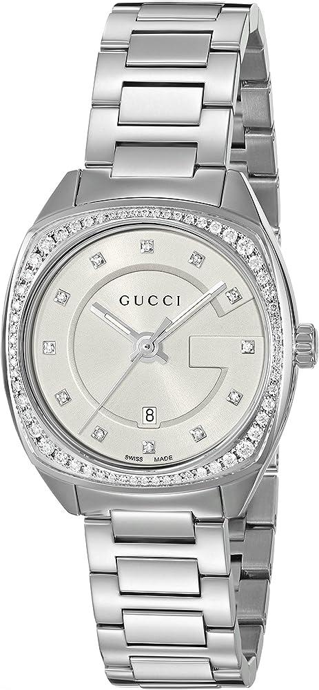 Gucci, orologio da donna, in acciaio inossidabile e lunetta impreziosita da diamanti YA142505