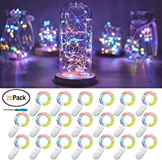 FELISHINE 20 Packs Fairy String Lights, 6.6FT 20 LEDs Battery Operated Silver Copper Wire Starry String Light for DIY Party Christmas Costume Wedding Easter Table Decorations (4 Colors)