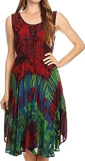 Sakkas Mathilde Marble Tie-dye Sleeveless Tank Dress Tiered and Corset