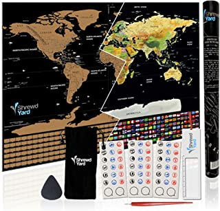 ShrewdYard Large Scratch Off Map Of The World With Scratchable US States And Country Flags, Black And Gold, 33x24 Inches