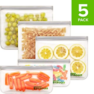 Reusable Storage Bags - EXTRA THICK 5 Pack (3 Sandwich Bags, 2 Snack Bags), Freezer Proof, Leakproof, FDA Grade, for Food, Lunch, Fruit, Veggies, Cereal