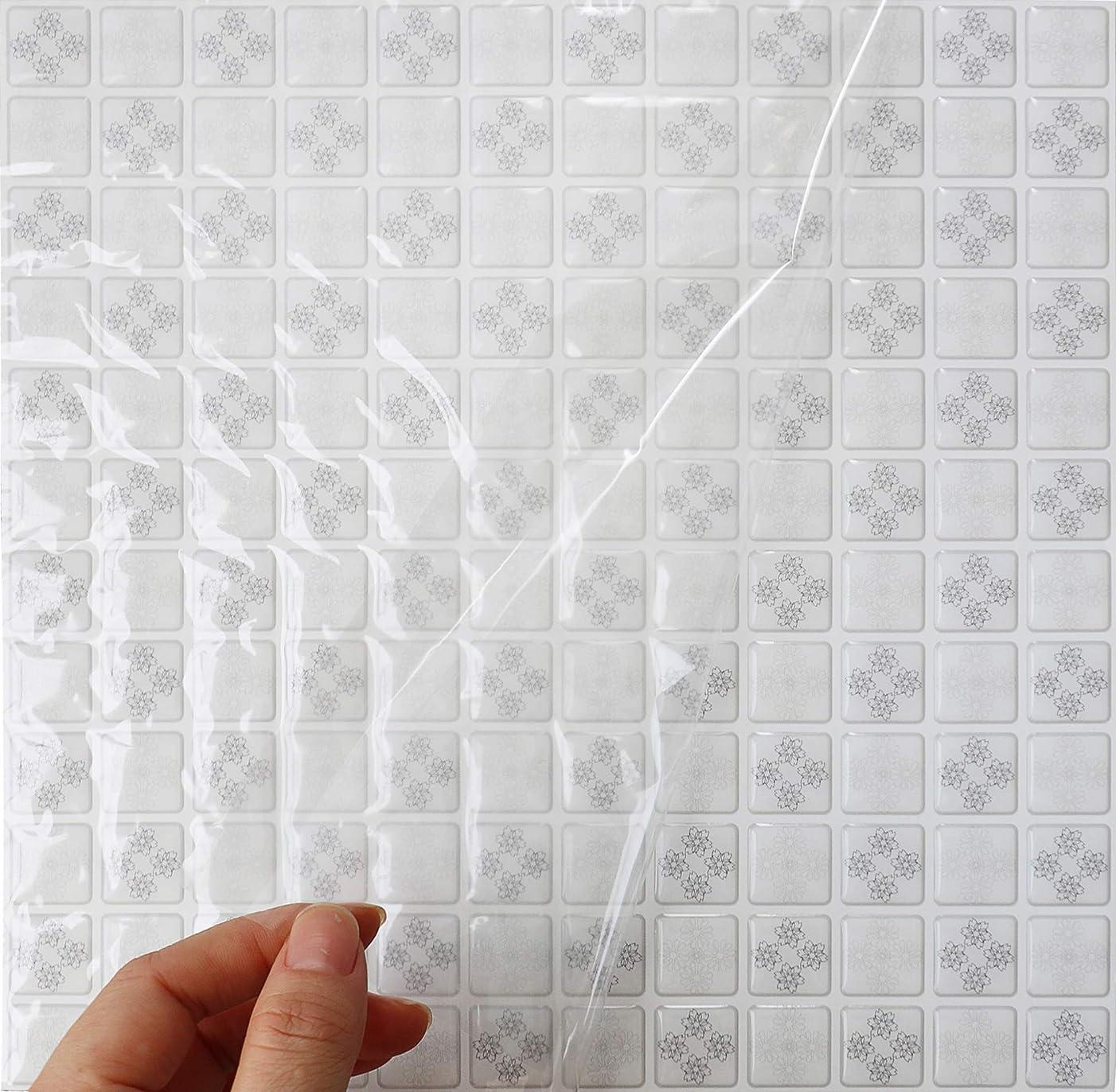 コールドニックネーム興味HyFanStr 4枚セット 3D キッチンタイル シール モザイクタイルシール 洗面所 トイレウォールステッカー 防水 DIY 壁貼りシール (ホワイト)