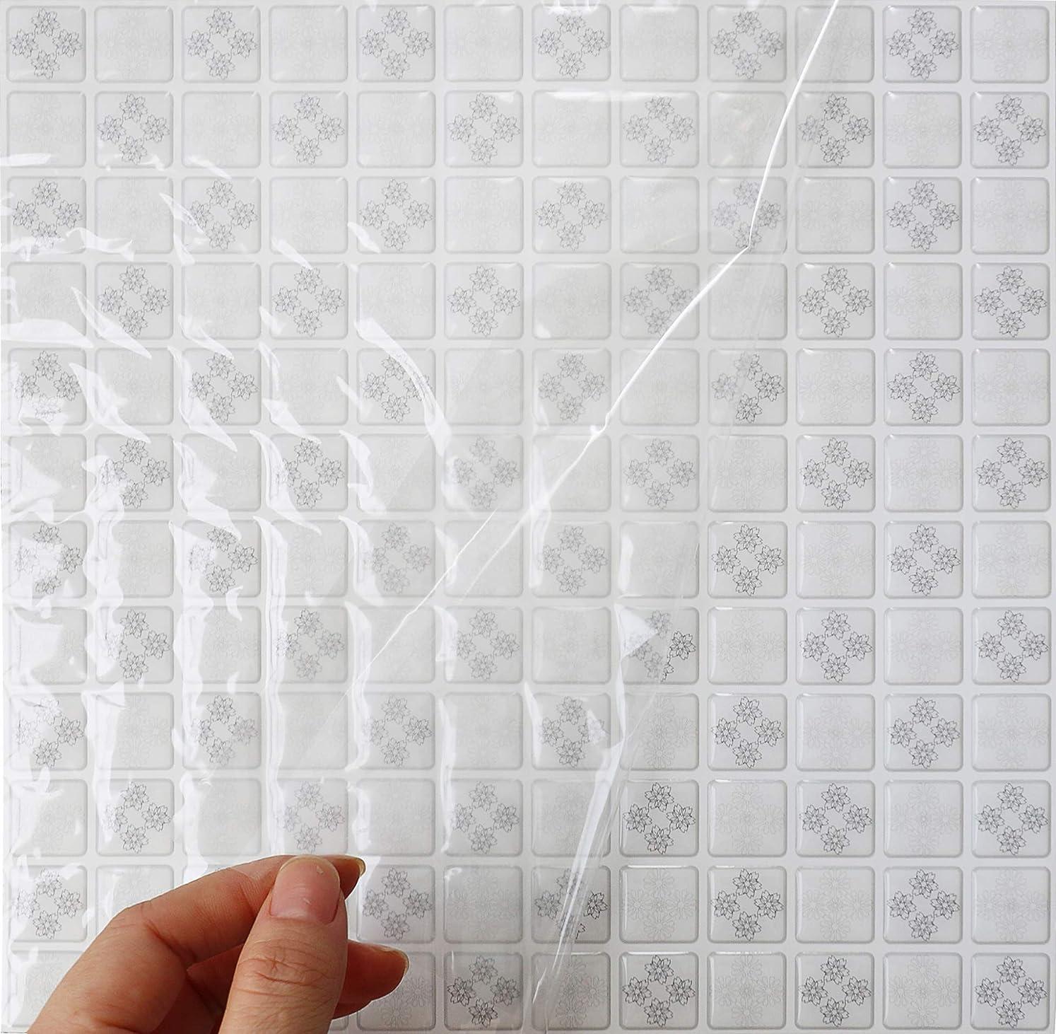 巻き取りリーガンハードウェアHyFanStr 4枚セット 3D キッチンタイル シール モザイクタイルシール 洗面所 トイレウォールステッカー 防水 DIY 壁貼りシール (ホワイト)