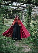 Capa de damasco roja con cola y capucha extra larga