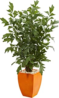 Nearly Natural 5632 5' Fishtail Palm Tree in Orange Planter Artificial Plant, Green