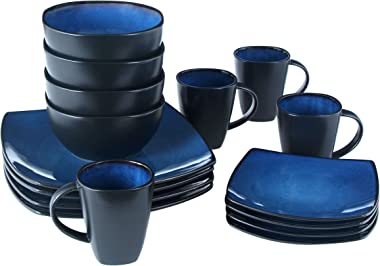 Gibson Elite Soho Lounge Reactive Glaze Stoneware Dinnerware set, Service for 4 (16pc), Blue