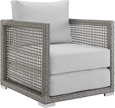 Modway Aura Wicker Rattan Outdoor Patio Arm Chair with Cushions in Gray White