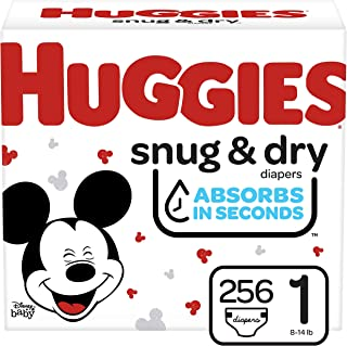 Sponsored Ad - HUGGIES Snug and Dry Baby Diapers, White, 256 Count