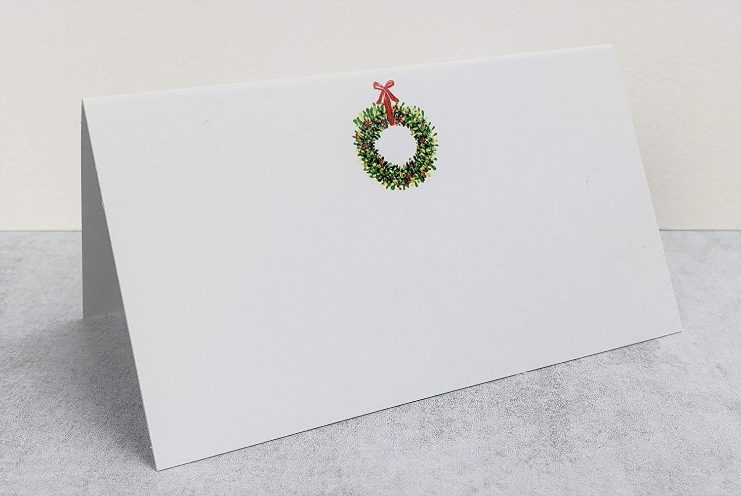 Nancy Nikko Place Cards with Christmas Wreath for Weddings Parties and Special Events Table Tent Style 12 Scored for Easy Folding Pkgs of 12//25 // 50 Dinners Showers