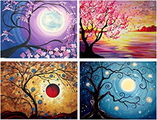 Yomiie 4 Pack 5D Diamond Painting Full Drill Sun and Moon Tree by Number Kits for Adults Kids, Abstract Landscape DIY Craft Paint with Diamonds Arts Home Decorations (12x16 inch)