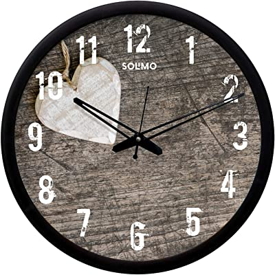 Amazon Brand - Solimo 12-inch Wall Clock - White Heart (Silent Movement, Black Frame)