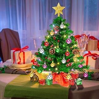 Árbol de Navidad Pequeño de 50 cm, Árbol de Navidad Artificial con luces LED multicolores y otras adornos de bolas, funcio...