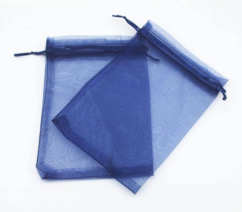 AEAOA 5x7 Inch Organza Bags Drawstring Wedding Favor Bags Organza Gift Pouches Bags for Wedding Jewelry Party (Navy Blue)