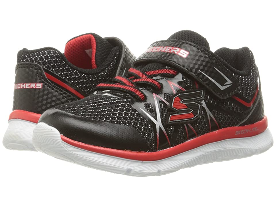 SKECHERS KIDS Flexies Fast Stepz (Toddler/Little Kid) (Black/Red) Boy