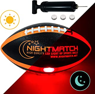 NIGHTMATCH Light Up Football - Black Edition - INCL Ball Pump and Spare Batteries - Inside LED Lights up When Kicked - Glow in The Dark Football - Size 6 - Official Size & Weight - Night-Light Sports