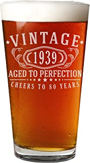 Vintage 1939 Etched Pint 16oz Beer Glass - 80th Birthday Aged to Perfection - 80 years old gifts