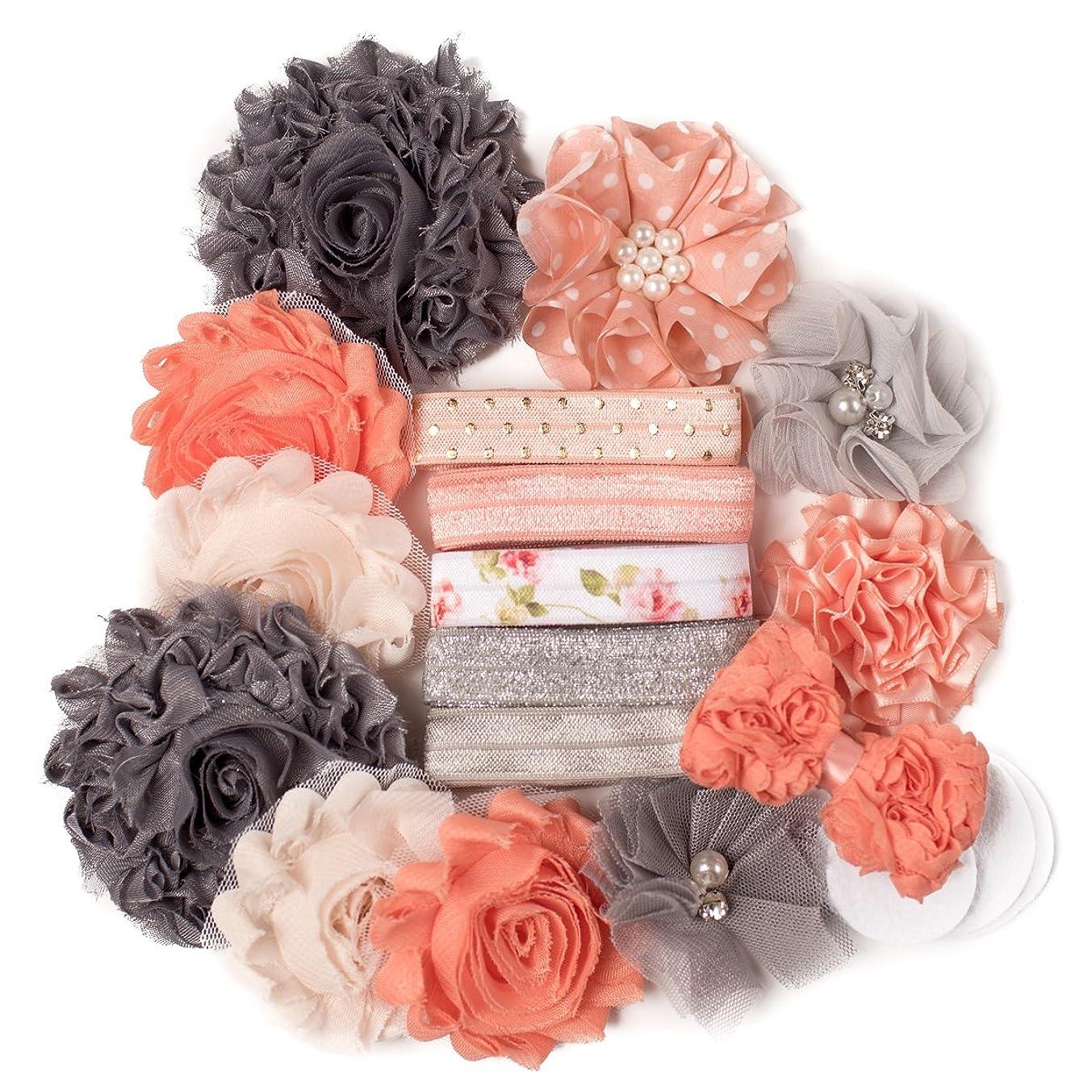 Peachy Keen : Peach & Silver Gray DIY Deluxe Mini Headband Kit Makes 5-10 Headband Hair Accessories : Shabby Chiffon Craft Roses FOE Fold Over Elastic : Princess Parties & Baby Showers