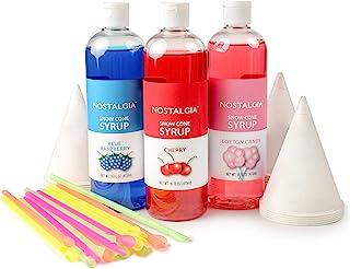 Nostalgia SCK3 Premium Syrup Party Kit Snow Cones, 20 Spoons/Straws, Blue Raspberry, Cherry, Cotton Candy, Multi