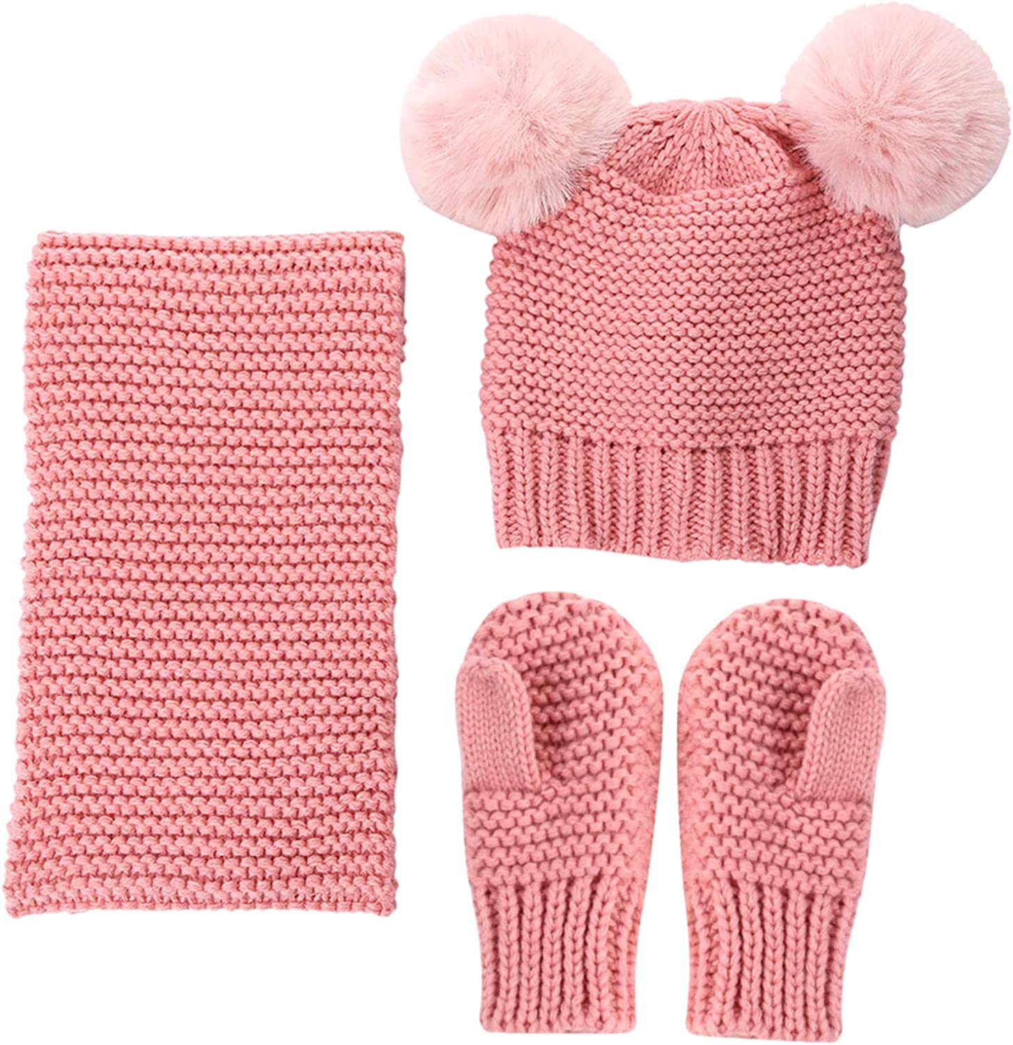 oenbopo Baby Hat Scarf Choice Gloves Knitted OFFicial site Set Winter Toddler Pompom