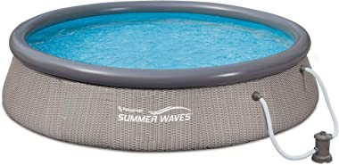 Summer Waves P10012361 Quick Set 12ft x 36in Outdoor Round Ring Inflatable Above Ground Swimming Pool with Filter Pump and Fi