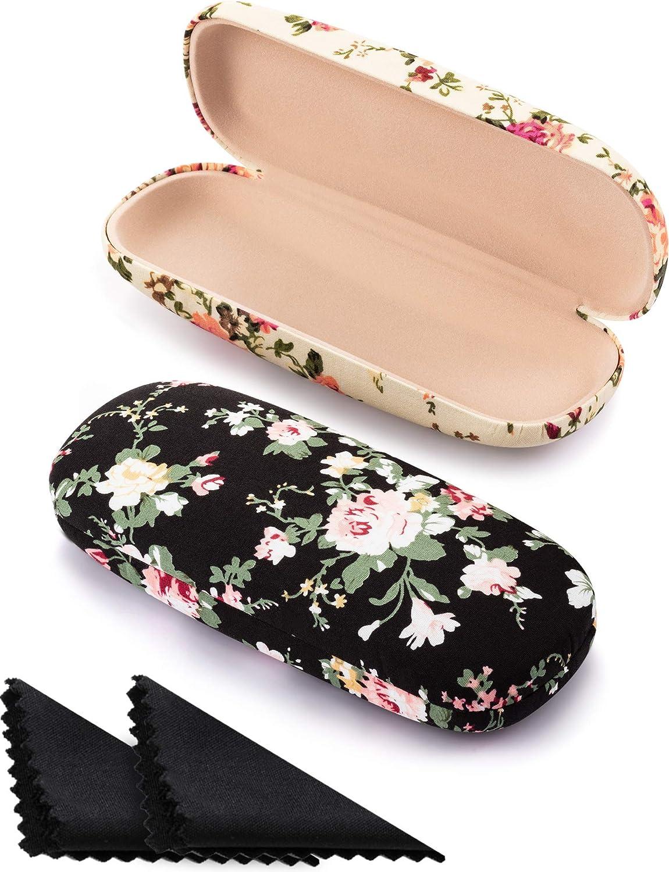 2 Pieces Hard Shell Eyeglass Case Fabrics Mesa Mall Cheap super special price for Flora Women Flower
