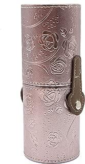 WSSROGY Pu Leather Round Travel Makeup Brush Holder Large Capacity Traveling Ross Pattern Make Up Brush Case Organizer Cosmetic Cup Cylinder Storage Box Bag (Silver)