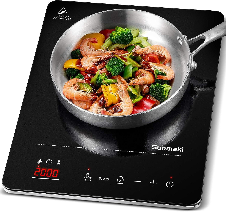 Placa de inducción, placa de inducción de placa de cocción Sunmaki, placa de cocción portátil vitrocerámica con pantalla digital , control de botón táctil con sensor, temporizador