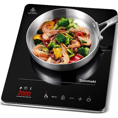 Plaque à Induction Sunmaki,2000W Plaquede cuisson à induction simple,10 niveaux de température,commande par capteur tactile, minuterie de 3 heures et verrouillage de sécurité
