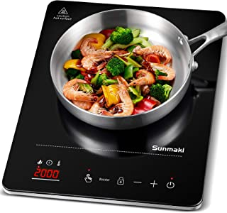 Placa de Inducción Portátil Sunmaki,placa de inducción con Superficie de Vidrio de Pulido Negro, diseño portátil Ultra Del...
