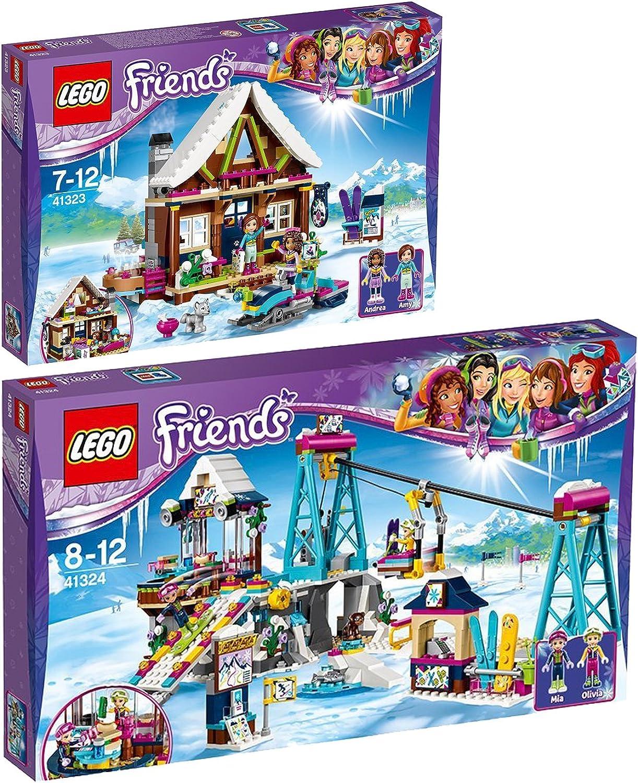 Lego Friends 2er Set 41323 41324 Chalet im Wintersportort + Skilift im Wintersportort