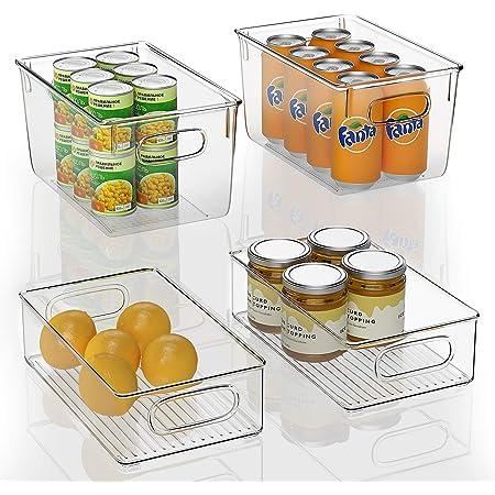 FINEW Réfrigérateur Organizer 4er Set Boîte à tiroirs en Plastique, Organisateur de Boîte de Rangement Transparent avec Poignée, Idéal pour Cuisines, réfrigérateur, armoires - sans BPA