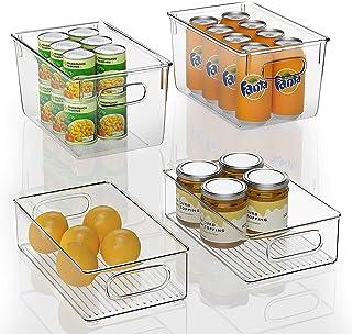 FINEW Réfrigérateur Organizer 4er Set Boîte à tiroirs en Plastique, Organisateur de Boîte de Rangement Transparent avec Po...