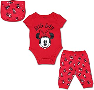 Disney Minnie Mouse 3 Pack Jogger, Onesie and Bib Set for Girls, Bodysuit Bundle for Baby