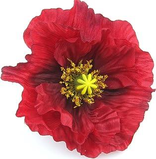 Large 4.5 Red Poppy Silk Flower Hair Clip