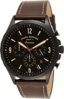 Fossil Forrester Chrono Men's Black Dial Leather Analog Watch - FS5608