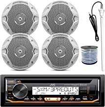JVC KD-R97MBS MP3/USB/AUX Bluetooth Marine Boat Yacht Stereo Receiver CD Player Bundle Combo With 4 (2 Pairs) JBL MS6510 150 Watt 6.5