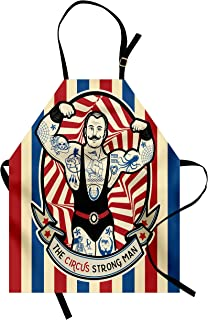 Ambesonne Circus Apron, Nostalgic The Strong Man with Tattoos and Muscles Circus Star Fun Art Print, Unisex Kitchen Bib with Adjustable Neck for Cooking Gardening, Adult Size, Beige Red