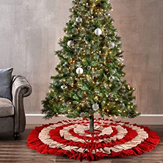 yuboo Christmas Tree Skirt, 50 inches Burlap 6-Layer Rustic Xmas Tree Holiday Decorations (red) (red&Linen)