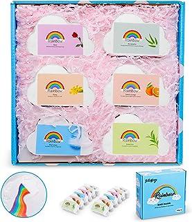 Organic Rainbow Bath Bombs, 12 Pcs Handmade Bath Bombs Gift Set with Natural Sea Salt, Coconut Oil & Shea Butter, Rich Bub...